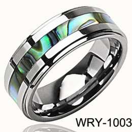 Good Quality Shell Inlay Tungsten Carbide Rings 6mm for Men