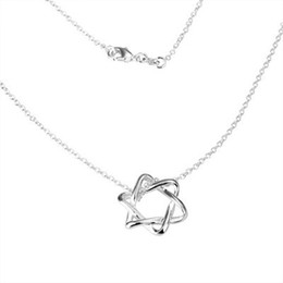 Wholesale 20pcs 925 Silver Chains Pendant Necklaces , Fashion Jewelry Cross Star 925 Silver Pendant Necklace 18inch Free shipping
