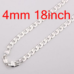 20pcs Vogue Man's Chains Necklaces , Fashion 925 Silver Jewelry Curb Figaro Necklace Free Shipping