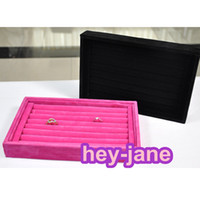 Wholesale In Stock ready to ship jewelry box velvet ring show cases velvet high quality ring stock box