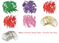South American wholesale basketball wives earrings - 800pcs Basketball Wives Colorful Spikes Bead Charm Beads DIY Earring pairs Ear hoop