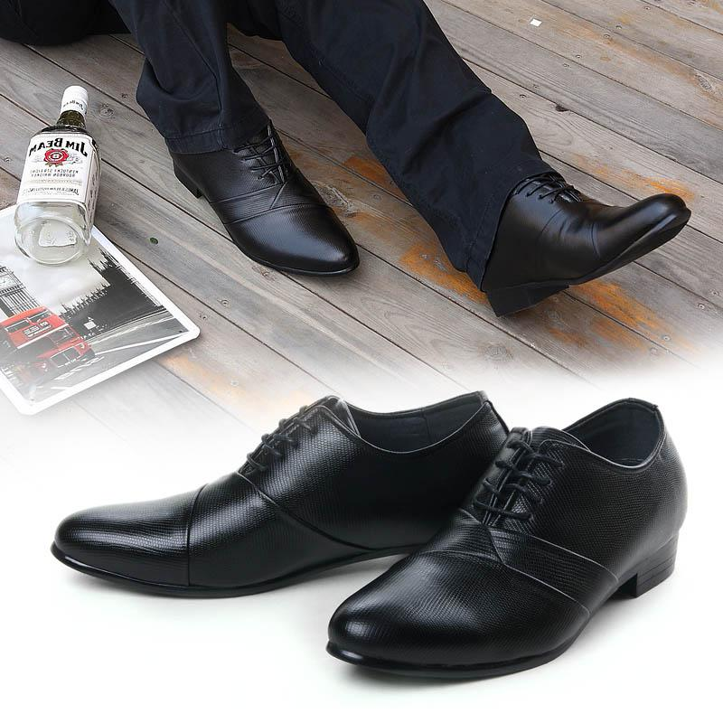 Men's Leather Black Lace-Up Dress Shoes: Men Suits Designer Men