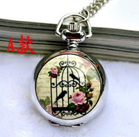 Wholesale Promotional price Silver Birdcage Bird Cage Flower Quartz Pocket Watch Pendant Necklace New Free