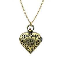 Wholesale Stylish Big Brone Love Heart Shaped Retro style Pendant Pocket Watch with Long Bronze Chain