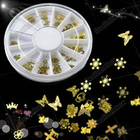 Wholesale Tiny Mixed Design Nail Art Decoration Acrylic Tips Metal Slice Sticker Wheel Gold New