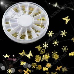 Wholesale Tiny Mixed Design Nail Art Decoration Acrylic Tips Metal Slice Sticker Wheel Gold New