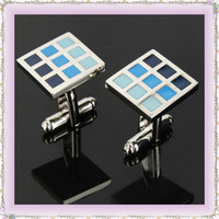 Wholesale Shirt Enamel Cufflink With Blue Gradient Grid pair