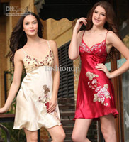Wholesale New Fashion Women NWT Silk Lingerie Lady Summer Embroider Lace Sexy Strap Skirt Red Sleepwear Plus size Underwear SG