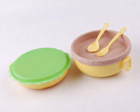 Wholesale 100 New High quality Cute Round Hamburger Shape Bento Lunch Box