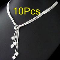 Wholesale New Top Sale Silver Snake Pendant Chains Necklaces Fashion Five Hearts Pandent Necklace