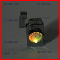 Freeshipping Colorful LED Falsh Light Watch Flip Top Jet Flame Briquet coupe-vent