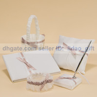 Wholesale Pure Elegance In White Wedding Ceremony Accessory Colour Schemes Guestbook Ring Pillow Flower Basket Garter