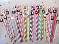 Wholesale Paper Straws Striped Paper Straws Drinking straws colors mix PET Packing