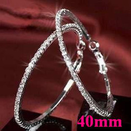 Basketball wives Hoop Earrings Silver Polish 1 Row 40mm crystals Free Shipping