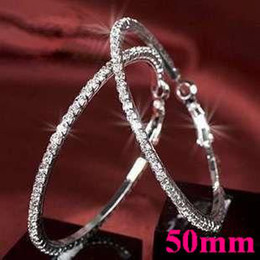 Basketball wives Hoop Earrings Silver Polish 1 Row 50mm crystals Free Shipping