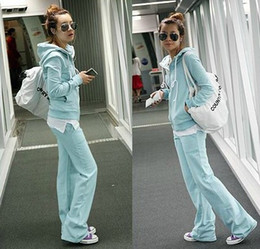 Wholesale 2012 new sportswear women s hooded casual zip solid color sports suit jacket coat blue gray