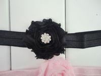 band pink roses - Mini Shabby Chic Chiffon Flower Headbands Matching Rose Sparking Rhinestone Hair Band Newborn Photography Props