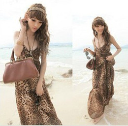 Womens Dresses leopard chiffon maxi dress backless evening party spaghetti strap Bohemian beach dress 8248