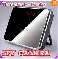 Wholesale Motion Detection Mirror Clock DV DVR Degree Hidden Spy Camera Remote Control