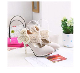 Wholesale NEWEST womens fashion shoes high heels Flowers bow wedding shoes color size US