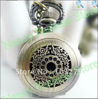 antique style telephone - Small bronze pocket watch necklace telephone tablet style mm chain length cm