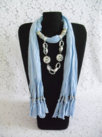 Wholesale DHL Free new Soft Charm Pendant Scarves Jewelry Scarves Fashion Jewelry Scarf Mix