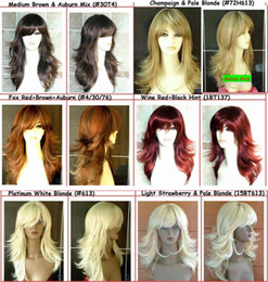 Wholesale 2012 Latest Women Lady Long Blonde Wig Tappered Style Black Brown Red Wig
