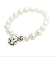 Wholesale Simple And Noble Pearl Ball Pendant Bracelet Stretch Gemstone Bracelet Jewelry