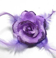 Wholesale New Arrive Big Silk Flower Brooch Fashion Feather Hairpin Head Clip Tire Hair Circle Mix Colors
