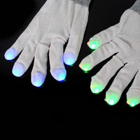 Wholesale White Multicolor LED Glow Gloves Rave Dance Flashing Gloves