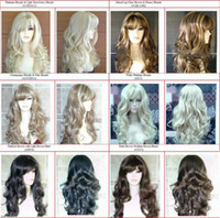 Wholesale Gorgeous Long Wavy Curly Lady Blonde Wig Black Brown Red Wigs Tone Wavy Soft Black Bangs WIGS WIG
