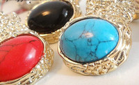 Wholesale 50PCS Ring Europe and the United States punk style YSL Korea fire fire retro gem ring G