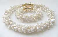 Wholesale 18 quot amp quot row mm white keshi reborn FW pearl necklace