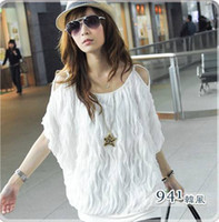 Wholesale 2012 Lady girl raised grain off shoulder Loose short sleeve t shirt Women s dress colors