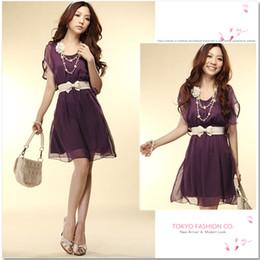 Hot Sale New Summer women lady O-Neck Chiffon Purity one-piece Dress Apricot Pink Purple White