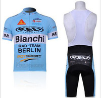 Anti Bacterial Men Sets Abar**Tour De France 2012 New BIANCHI bike team cycling jersey + Bib shorts suit Size S-XXXL