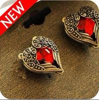 al por mayor aretes de diamante de la vendimia-El nuevo diamante rojo del melocotón del diamante de la vendimia se va volando el pendiente del perno prisionero con los pendientes de rubíes