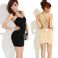 Wholesale New Women Sexy Backless Sling Hollow Out Lace Party Cocktail Mini Dress Night Out Club Hot