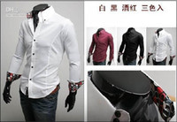 Men Cotton Long Sleeve 3Pcs lot Shirts For Men Slim Fit Silk Sleeve&Collar Stylish Shirts FreeShipping Mixed Order