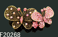 Wholesale hot sell Vintage zinc alloy rhinestone Butterfly hair clip Barrettes Hair Accessories mixed color F20268