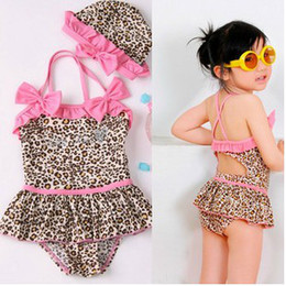 Wholesale 5Set girl bikini cover ups one pieces Leopard pink bowtie swimwear girls bikini cap two pieces set