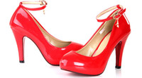 Wholesale newest womens fashion shoes sexy Strap red pearl patent leather wedding shoes size US