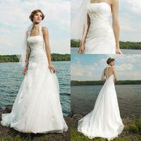 Wholesale 2012 New Arrival Removable Halter A line Chapel Train Sleeveless Applique Ivory Wedding Dresses