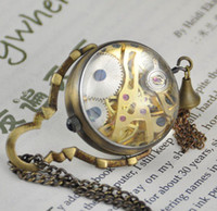 Wholesale Steampunk Style Glass Ball Skeleton Mechanical Pocket Watch Necklace Chain discount hot sale PW017
