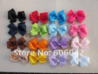 Wholesale quot quot baby ribbon bows with clip grosgrain hairclips Hairclips Girls hair accessories