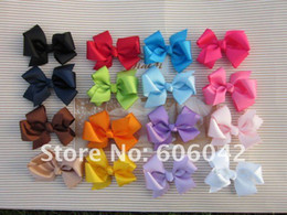 "Wholesale 3.3""-3.5"" baby ribbon bows with clip,grosgrain hairclips,Hairclips,Girls' hair accessories"