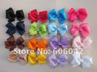 "Multi-Color Hair Clips Grosgrain ribbon and clip 50pcs lot, 3.3""-3.5"" Baby ribbon bows with clip,grosgrain hairclips,Hairclips,Girls' hair accessorie"