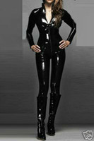 Wholesale Sexy WOmens Zipeer Catsuit Black Shiny PVC Bodysuit Costume Zipper Clubwear