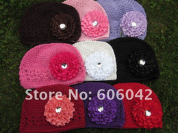Wholesale Infant Kufi Hats with rosette flowers Crochet Baby Bennies Baby Knitted Hats