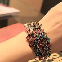 Wholesale femal Vintage peacock Color Gemstone Bracelets. 10...